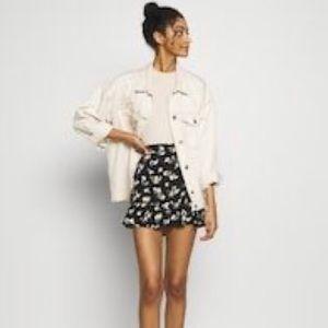 Black Floral Printed Mini Skirt
